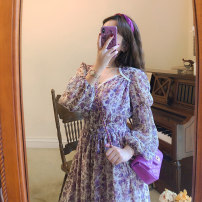 Dress Spring 2021 Romantic purple S M L XL Mid length dress singleton  Long sleeves commute V-neck High waist Broken flowers Socket other puff sleeve Others 18-24 years old Li Zi Retro TLZ095 51% (inclusive) - 70% (inclusive) Chiffon polyester fiber Polyester 70% other 30%