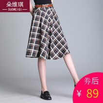 skirt Spring 2021 M L XL 2XL 3XL Blue coffee black and white Mid length dress commute High waist A-line skirt lattice Type A d1108 other Duo weiqi Lace Pure e-commerce (online only)