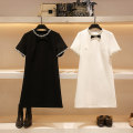 Dress Summer 2021 Black and white S M L Short skirt singleton  Short sleeve commute Crew neck High waist Solid color Socket A-line skirt routine 25-29 years old Type A Hua Baihua Korean version Bow button bead zipper H0147 More than 95% Chiffon other Other 100% Pure e-commerce (online only)