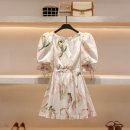 Dress Summer 2021 Broken flowers S M L Short skirt singleton  Short sleeve commute Crew neck High waist Broken flowers Socket A-line skirt puff sleeve 25-29 years old Type A Hua Baihua court Open back lace up print H0333 More than 95% other Other 100% Pure e-commerce (online only)