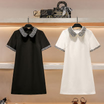 Dress Summer 2021 Black and white S M L longuette singleton  Short sleeve commute Doll Collar High waist Solid color Socket A-line skirt routine 25-29 years old Hua Baihua Korean version Splicing H0302 More than 95% Chiffon other Other 100% Pure e-commerce (online only)