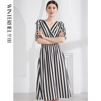 Dress Spring 2021 black and white S M L XL longuette singleton  Short sleeve commute V-neck middle-waisted stripe Socket A-line skirt routine 25-29 years old Type A Winter fiel printing FD367 More than 95% Chiffon polyester fiber Polyester 100%