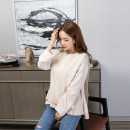 T-shirt Off white Average size Spring 2021 Long sleeves Crew neck easy Regular routine commute cotton 30% and below 25-29 years old Solid color Light smoke New polyester 70% Cotton 30% Pure e-commerce (online only)