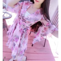 Dress Spring of 2019 Apricot (for bra), pink (for bra) S,M,L,XL,2XL Short skirt Fake two pieces Short sleeve commute V-neck Princess Dress pagoda sleeve Others Bows, ruffles, bandages Chiffon other