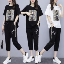 Women's large Summer 2021 White black L [suggest 90-115 Jin] XL [suggest 115-135 Jin] 2XL [suggest 135-155 Jin] 3XL [suggest 155-175 Jin] 4XL [suggest 175-200 Jin] [collect and buy small gifts, give priority to delivery] T-shirt Two piece set commute easy moderate Socket Short sleeve character cotton