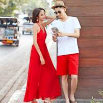 Dress Summer of 2019 Women's skirt, men's trousers, men's T-shirt S,M,L,XL,XXL,XXXL longuette Sleeveless commute V-neck Elastic waist Solid color Big swing camisole 25-29 years old Korean version backless O1LQ52 More than 95% Chiffon polyester fiber