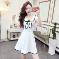 Dress Summer 2020 Black, white, red S,XL,L,M Short skirt singleton  Short sleeve commute V-neck Solid color Socket Princess Dress Others 18-24 years old