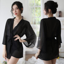 Pajamas / housewear set female Appropriate contract Average size Black robe + belt, lotus pink robe + belt Polyester (polyester) sexy pajamas summer Thin money V-neck Solid color double-breasted youth More than 95% Chiffon 200g and below Short skirt