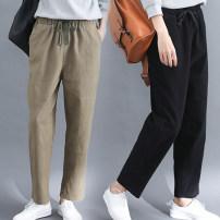 Casual pants Khaki, black L [95-130 kg], XL [130-170 kg] Autumn of 2019 trousers Haren pants commute routine 71% (inclusive) - 80% (inclusive) Other / other cotton Retro cotton