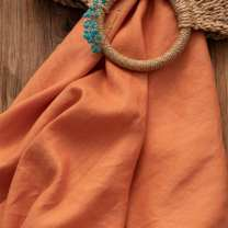 Fabric / fabric / handmade DIY fabric flax Warm orange 0.5m price Loose shear rice Solid color printing and dyeing clothing Countryside Other / other 100%