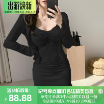 Dress Autumn 2020 Black, gray, blue S,M,L Short skirt singleton  Long sleeves street square neck High waist Solid color Socket One pace skirt routine Others 18-24 years old Type H TFS4790W0G 51% (inclusive) - 70% (inclusive) other cotton Europe and America