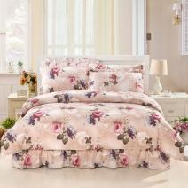 Bedding Set / four piece set / multi piece set cotton Quilting Plants and flowers 133x72 Eni Jiujiu cotton 4 pieces 60 4-piece 1.2m (4-foot) bed skirt, 4-piece 2.0m (6.6-foot) bed skirt, 4-piece 1.5m (5-foot) bed skirt, 4-piece 1.8m (6-foot) bed skirt, 4-piece 1.8x2.2m bed skirt Bedspread type 100%
