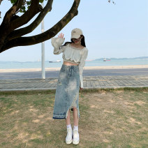 skirt Summer 2021 XS S M L XL blue Mid length dress commute High waist A-line skirt Solid color 18-24 years old More than 95% other other Bandage Korean version Other 100% Pure e-commerce (online only)