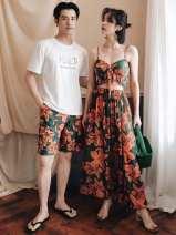 Couple swimsuit Beiyou products L,XXL,M,XL Men's beach pants, women's, men's T-shirt Nylon, spandex, polyester currency