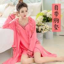 Pajamas / housewear set female Other / other M [80-100 Jin], l [90-105 Jin], XL [100-115 Jin], XXL [110-135 Jin], 3XL [120-145 Jin], 4XL [135-170 Jin] cotton Long sleeves sexy Leisure home routine V-neck Plants and flowers youth 2 pieces 41% (inclusive) - 60% (inclusive) polyester cotton Middle-skirt