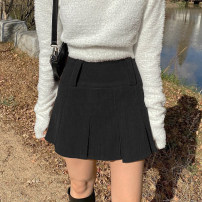 skirt Winter 2020 S,M,L Black, brown Short skirt street High waist A-line skirt Solid color Type A 18-24 years old KGD9205W0K More than 95% corduroy polyester fiber zipper Europe and America