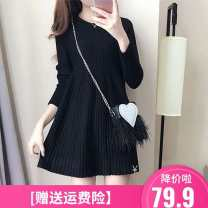 Dress Autumn 2020 High quality genuine black, high quality genuine red S,M,L,XL,2XL Mid length dress singleton  Long sleeves commute Crew neck Loose waist Solid color Socket A-line skirt other Others Type A Korean version Splicing H9015 knitting