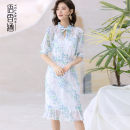Dress Summer 2021 Blue purple pink S M L XL Middle-skirt Two piece set Short sleeve commute Half open collar middle-waisted Decor Socket Ruffle Skirt raglan sleeve Others 30-34 years old Type H Language fragrance Ol style Bow fold auricular frenum More than 95% Crepe de Chine silk Mulberry silk 100%