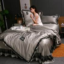 Bedding Set / four piece set / multi piece set Polyester (polyester fiber) Quilting Solid color 133x72 Other / other Polyester (polyester fiber) 4 pieces 60 Bedspread type Qualified products Korean style satin-like cotton fabric Reactive Print  Cool feeling other