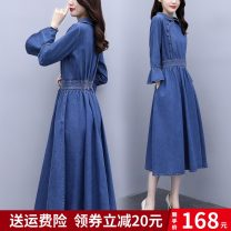 Dress Autumn 2020 Denim M L XL 2XL Middle-skirt singleton  Long sleeves commute Polo collar High waist other Socket A-line skirt routine Others 25-29 years old Type A Qiyi town Korean version 3D ZMFS20872 More than 95% other polyester fiber Polyester 100% Pure e-commerce (online only)