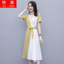 Dress Summer 2021 P27-m-navy, r57-j-yellow M,L,XL,2XL,3XL longuette singleton  Short sleeve commute V-neck High waist Solid color Socket A-line skirt routine Others 25-29 years old Other / other Frenulum ZX8251HYGG Chiffon other