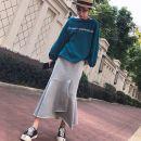 skirt Autumn of 2019 S,M,L,XL Gray, black Mid length dress commute High waist A-line skirt Solid color Type A cotton Korean version