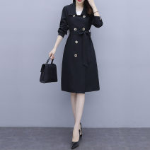 Women's large Autumn 2020 black L (recommended 100-118 kg) XL (recommended 118-130 kg) 2XL (recommended 130-150 kg) 3XL (recommended 150-165 kg) 4XL (recommended 165-180 kg) 5XL (recommended 180-200 kg) Windbreaker singleton  commute easy moderate Cardigan Long sleeves Solid color Korean version