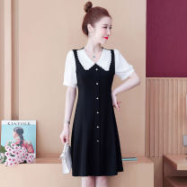 Dress Summer 2021 black M L XL 2XL 3XL 4XL Middle-skirt singleton  commute Doll Collar routine 25-29 years old Dai Wanqi Korean version zipper More than 95% other Other 100% Pure e-commerce (online only)