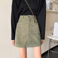 skirt Winter 2020 S M L Black green Short skirt commute Natural waist A-line skirt Solid color 18-24 years old More than 95% corduroy Zhixi (dress) other Korean version PU Pure e-commerce (online only)