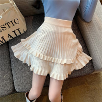 skirt Winter 2020 Average size Black Beixing Middle-skirt commute Natural waist Pleated skirt Solid color 18-24 years old More than 95% knitting Zhixi (dress) other Korean version PU Pure e-commerce (online only)