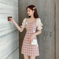 Dress Summer 2020 Picture color S,M,L,XL Short skirt singleton  Short sleeve commute other High waist lattice zipper A-line skirt pagoda sleeve Korean version Stitching, sequins