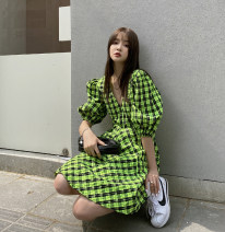 Dress Summer 2021 Green Grid in stock S,M,L Short skirt singleton  Short sleeve commute V-neck High waist lattice A-line skirt routine Others bow 51% (inclusive) - 70% (inclusive) other