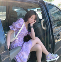 Dress Summer 2020 Purple check in stock S,M,L Short skirt singleton  Short sleeve commute square neck High waist lattice Ruffle Skirt puff sleeve Others Type H bow 51% (inclusive) - 70% (inclusive) other