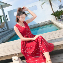Dress Summer 2020 White, red S,M,L Miniskirt singleton  Sleeveless commute V-neck Socket A-line skirt Korean version Chiffon cotton