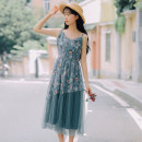 Dress Spring of 2019 Apricot, green, blue S,M,L,XL Miniskirt singleton  Sleeveless Sweet other High waist Decor Socket other other Others 18-24 years old Type A Embroidery 71% (inclusive) - 80% (inclusive) other other