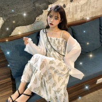 Dress Autumn 2020 S M L XL Mid length dress Two piece set commute One word collar High waist Broken flowers Socket Big swing routine Others 18-24 years old Type A Korean version Pleated printing More than 95% other Other 100% Pure e-commerce (online only)