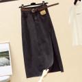 skirt Summer 2020 S,M,L,XL,2XL Blue, greyish black longuette commute High waist A-line skirt Solid color Type A 18-24 years old other Ocnltiy pocket Korean version