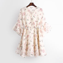 Dress Spring 2021 Apricot S,M,L Mid length dress singleton  three quarter sleeve commute V-neck High waist Broken flowers A button other pagoda sleeve Others 18-24 years old Type A Ocnltiy More than 95% other other