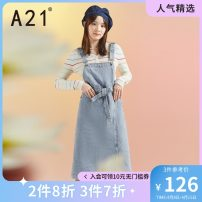 Dress Autumn 2020 Sky blue 155/80A/S 160/84A/M 165/88A/L longuette singleton  Sleeveless commute other middle-waisted Solid color Socket other other straps 18-24 years old Type H A21 belt F403227003 More than 95% Denim cotton Cotton 100%