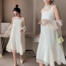 Dress Apricot M,L,XL,XXL Korean version Short sleeve Medium length summer V-neck shape Pure cotton (95% and above)