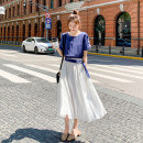 Dress Summer 2021 Blue and white S,M,L,XL longuette Fake two pieces Short sleeve commute Crew neck High waist Solid color Socket A-line skirt routine Type A Other / other Korean version Chiffon polyester fiber
