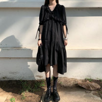 Dress Summer 2021 Black dress S,M,L,XL,2XL,3XL Mid length dress elbow sleeve street V-neck Solid color Irregular skirt Others 18-24 years old 9029 large amount of stock 81% (inclusive) - 90% (inclusive) polyester fiber Hip hop