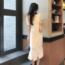 Dress Summer 2021 Cream apricot fishtail skirt S M L XL Mid length dress singleton  Short sleeve commute V-neck High waist Solid color Socket A-line skirt puff sleeve Others 18-24 years old Yingbi Poetry Korean version Pleating A11115 More than 95% other other Other 100%