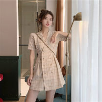 Dress Summer 2021 S M L XL Short skirt singleton  Short sleeve Sweet tailored collar High waist lattice double-breasted other other Others 18-24 years old Type A Yingbi Poetry More than 95% other other Other 100% Mori Pure e-commerce (online only)