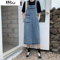 Dress Spring 2021 blue S M L Mid length dress singleton  Sleeveless commute other Loose waist Solid color Socket A-line skirt other straps 18-24 years old Type A Buluozun Korean version pocket c0201 More than 95% Denim other Other 100%