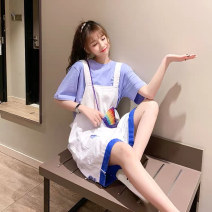 Women's large Summer 2021 Blue suit green suit yellow suit S M L XL 2XL 3XL 4XL Two piece set commute easy moderate Socket Short sleeve Korean version Crew neck routine Three dimensional cutting routine dliyou-ijn256 Danliyou hole Other 100% Pure e-commerce (online only) shorts straps