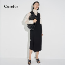 Dress Spring 2021 black S, M longuette singleton  Sleeveless commute V-neck Loose waist Solid color Socket A-line skirt straps 25-29 years old Type H Curefor Simplicity S41101049 91% (inclusive) - 95% (inclusive) polyester fiber