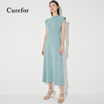 Dress Spring 2021 Green, black S, M longuette singleton  Sleeveless commute V-neck High waist Solid color Single breasted Big swing Others 25-29 years old Type X Curefor Simplicity 30% and below nylon