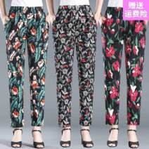 Casual pants 07 leaf flower-h13, 06 magnolia-n74, 08 blue flower-h65, 01 big red flower-f21, 03 dream leaf-a53, 02 green leaf flower-k24, 05 peony flower-k50, 04 tulip-j60 2xl110-125kg, xl90-110kg, 4xl140-165kg, 3xl125-140kg Summer 2020 trousers High waist Versatile ultrathin Other / other