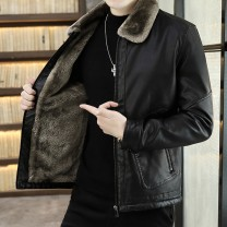leather clothing Others Youth fashion Black, coffee, khaki M,L,XL,2XL,3XL,4XL have cash less than that is registered in the accounts Imitation leather clothes Lapel Slim fit zipper winter leisure time youth tide Cloth hem Zipper bag No iron treatment Detachable collar